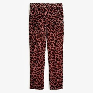 J. Crew Pull-on Easy Pant in🌹Rose Leopard Velvet